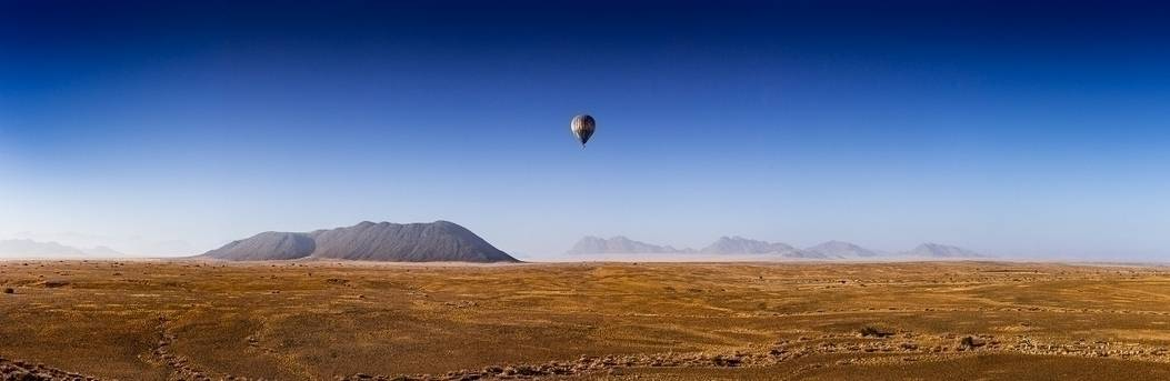 with a hot air balloon over the Namib